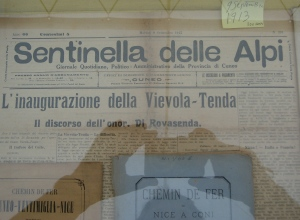 A newspaper article from September 1913 selebration the inauguration of the last section of the line from Cuneo to Tenda.