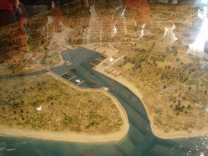 two views of a scale model of Roman Fréjus, showing the river canal and just how close the town was to the coast 2000 years ago.